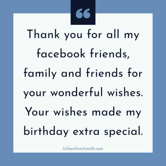 Thank you for all my Facebook friends, family, and friends for your wonderful wishes. Your wishes made my birthday extra special.