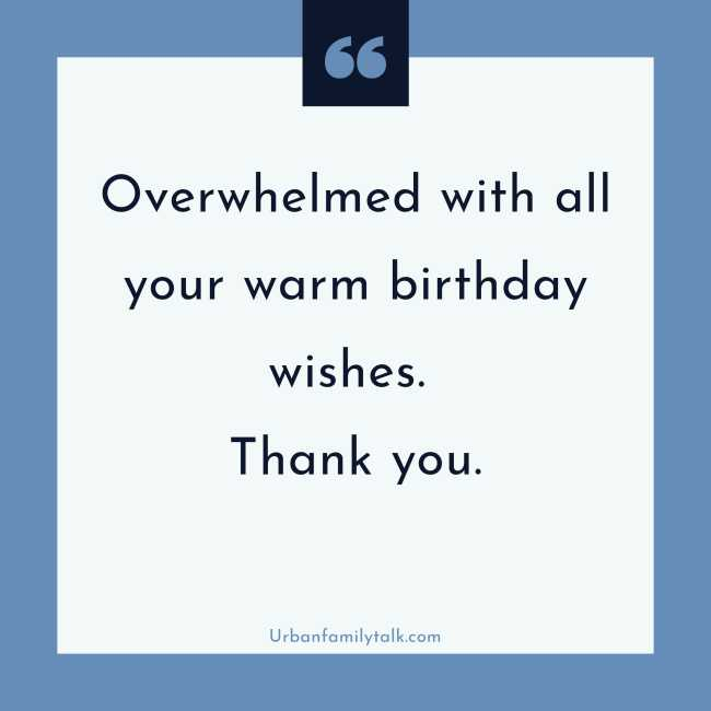 Overwhelmed with all your warm birthday wishes. Thank you.