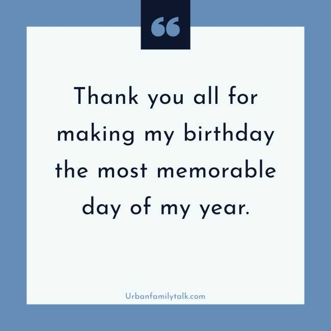 Thank you all for making my birthday the most memorable day of my year.