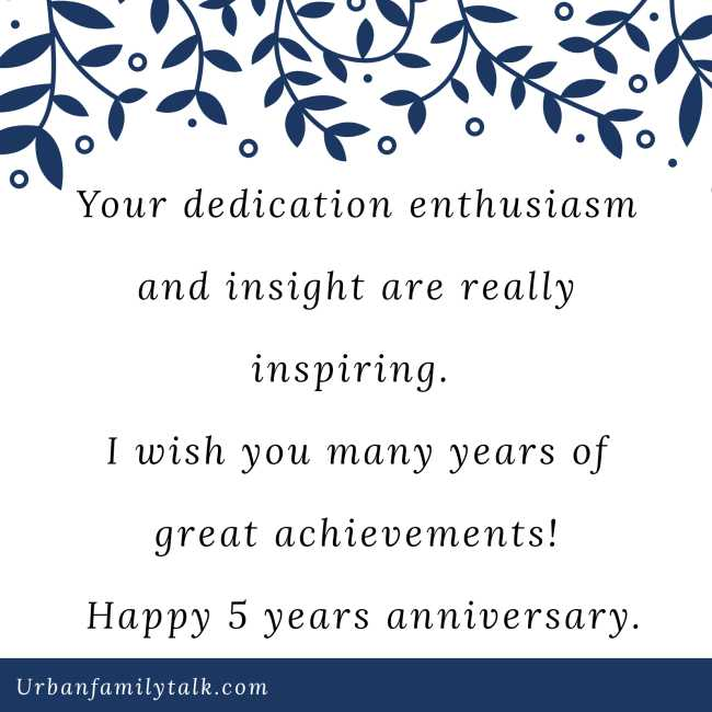 Your dedication enthusiasm and insight are really inspiring. I wish you many years of great achievements! Happy 5 years anniversary.