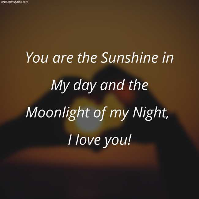 You are the Sunshine in My day and the Moonlight of my Night, I love you!