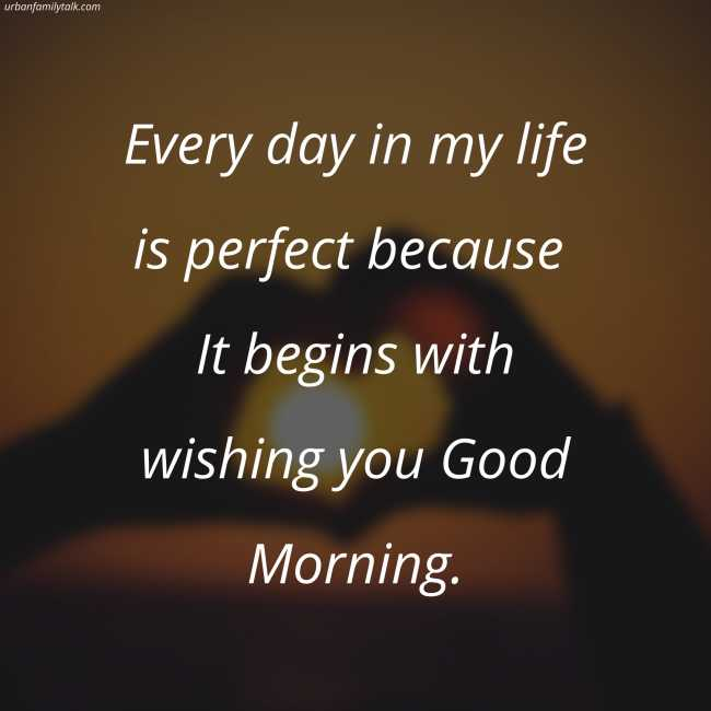 Every day in my life is perfect because It begins with wishing you Good Morning.