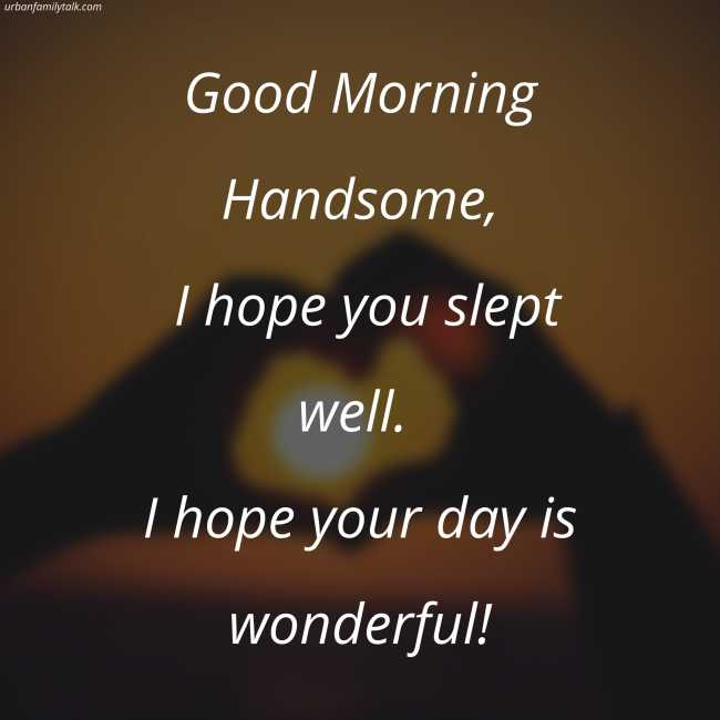 Good Morning Handsome, I hope you slept well. I hope your day is wonderful!