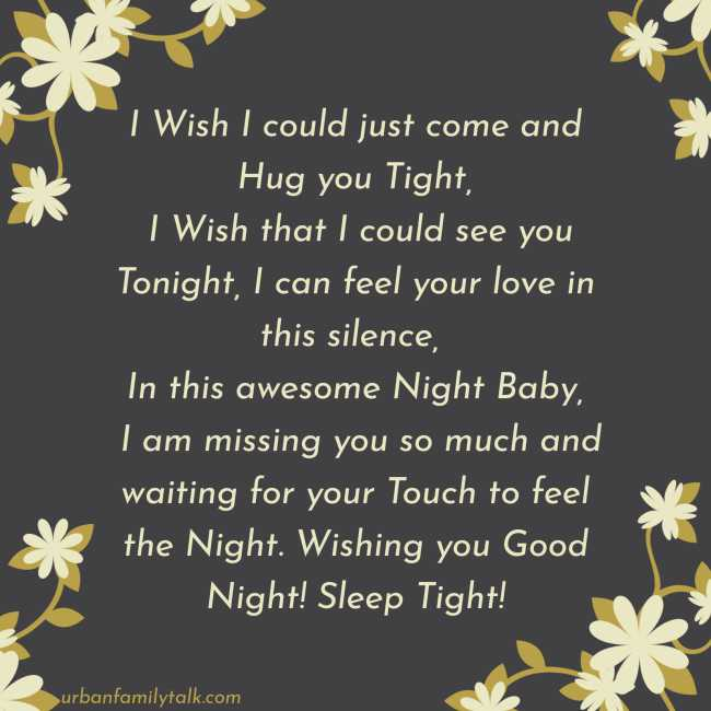 I Wish I could just come and Hug you Tight, I Wish that I could see you Tonight, I can feel your love in this silence, In this awesome Night Baby, I am missing you so much and waiting for your Touch to feel the Night. Wishing you Good Night! Sleep Tight!