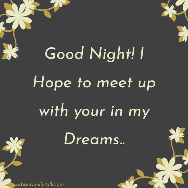 Good Night! I Hope to meet up with your in my Dreams...