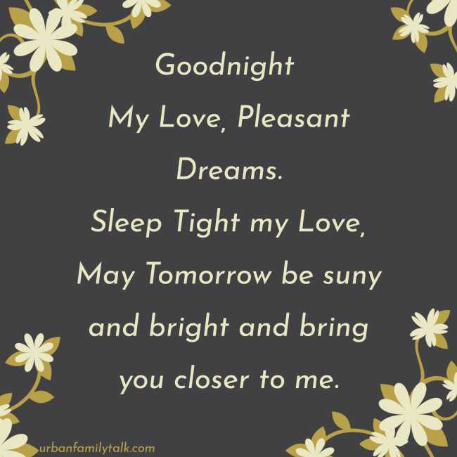Goodnight My Love, Pleasant Dreams. Sleep Tight my Love, May Tomorrow be suny and bright and bring you closer to me.