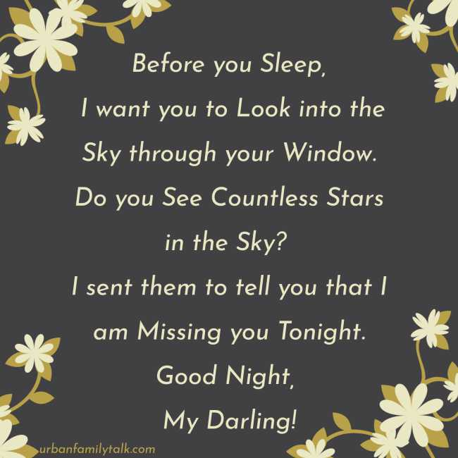 Before you Sleep, I want you to Look into the Sky through your Window. Do you See Countless Stars in the Sky? I sent them to tell you that I am Missing you Tonight. Good Night, My Darling!
