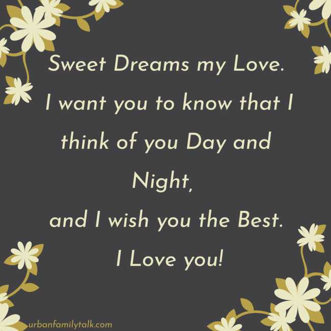 Sweet Dreams my Love. I want you to know that I think of you Day and Night, and I wish you the Best. I Love you!