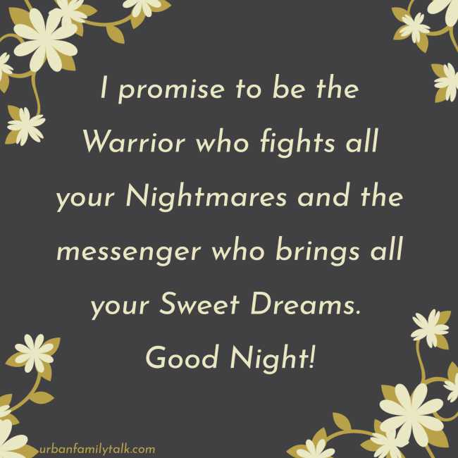 I Promise to be the Warrior who fights all your Nightmares and the messenger who brings all your Sweet Dreams. Good Night!