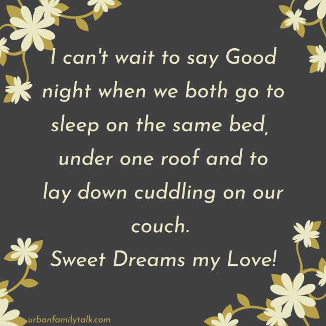 I can't wait to say Goodnight when we both go to sleep on the same bed, under one roof and to lay down cuddling on our couch. Sweet Dreams my Love!