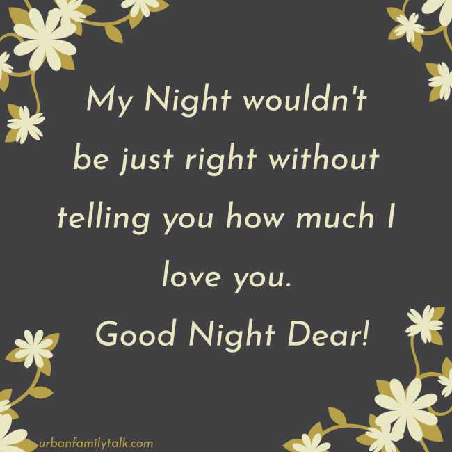 My Night wouldn't be just right without telling you how much I love you. Good Night Dear!