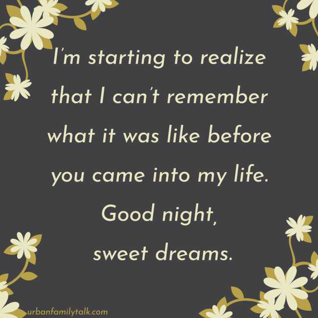 I'm starting to realize that I can't remember what it was like before you came into my life. Good night, sweet dreams.