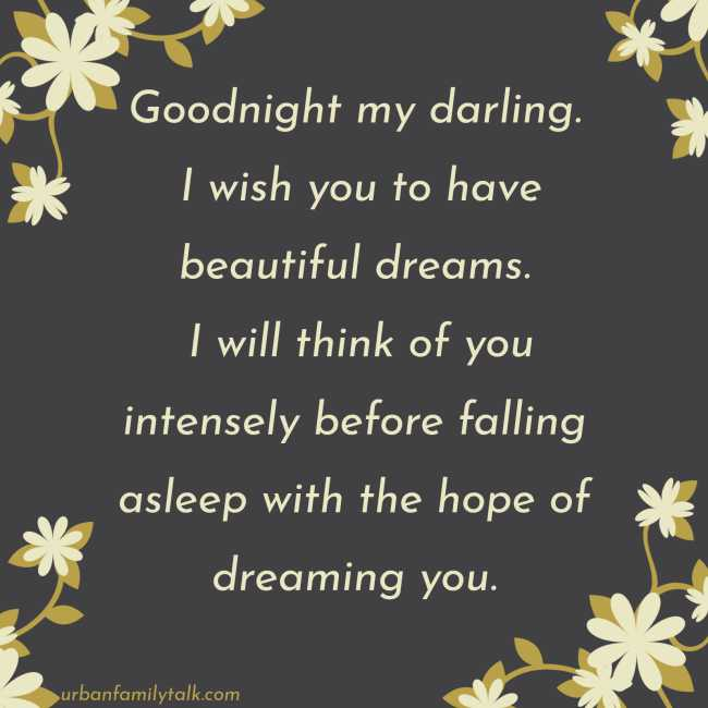 Goodnight my darling. I wish you to have beautiful dreams. I will think of you intensely before falling asleep with the hope of dreaming you.