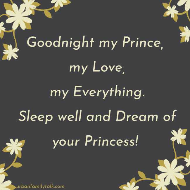 Goodnight my Prince, my Love, my Everything. Sleep well and Dream of your Princess!