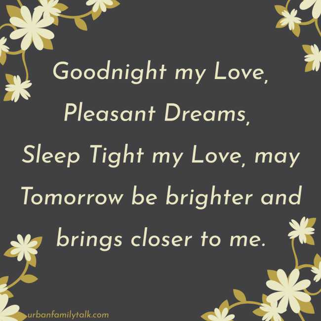 Goodnight my Love, Pleasant Dreams, Sleep Tight my Love, may Tomorrow be brighter and brings closer to me.