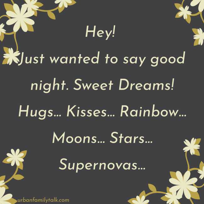 Hey! Just wanted to say good night. Sweet Dreams! Hugs... Kisses... Rainbow... Moons... Stars... Supernovas...