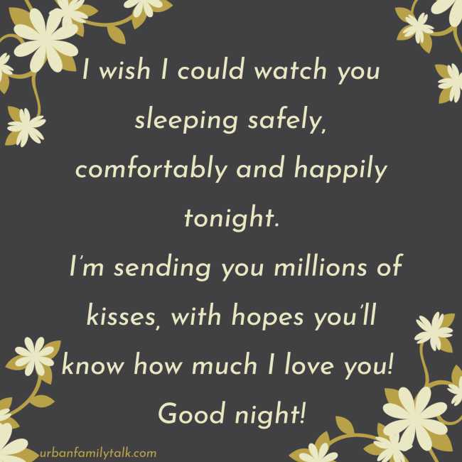 I wish I could watch you sleeping safely, comfortably and happily tonight. I'm sending you millions of kisses, with hopes you'll know how much I love you! Good night!