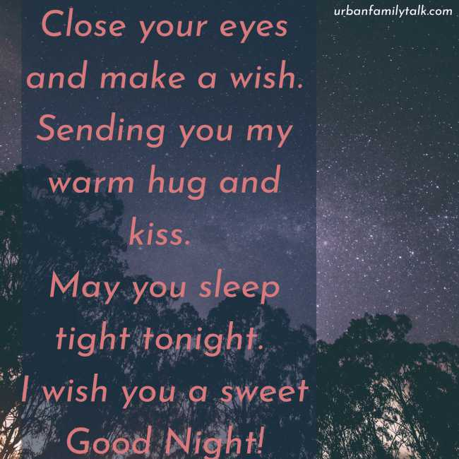 Close your eyes and make a wish. Sending you my warm hug and kiss. May you sleep tight tonight. I wish you a sweet Good Night!