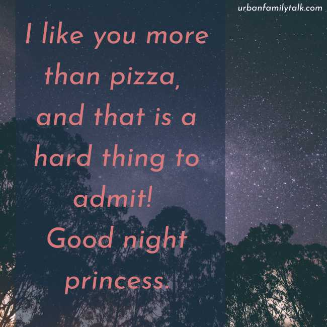 I like you more than pizza, and that is a hard thing to admit! Good night princess.