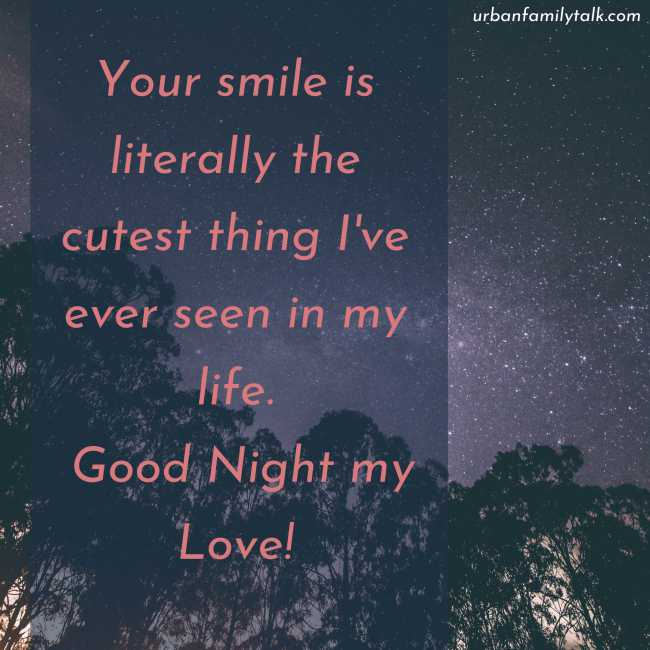 Your smile is literally the cutest thing I've ever seen in my life. Good Night my Love!