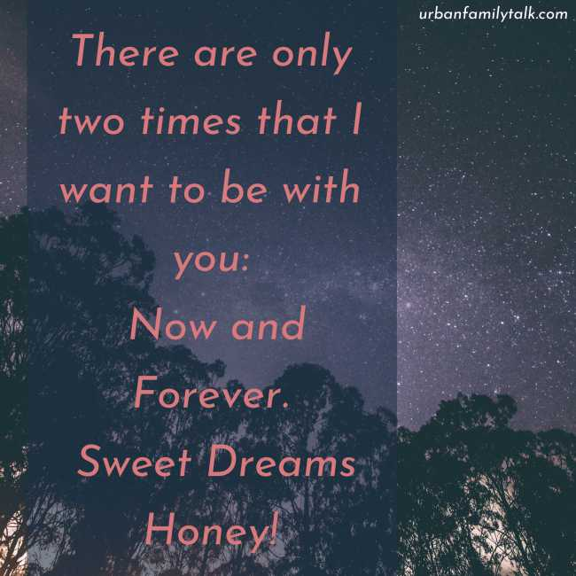 There are only two times that I want to be with you: Now and Forever. Sweet Dreams Honey!
