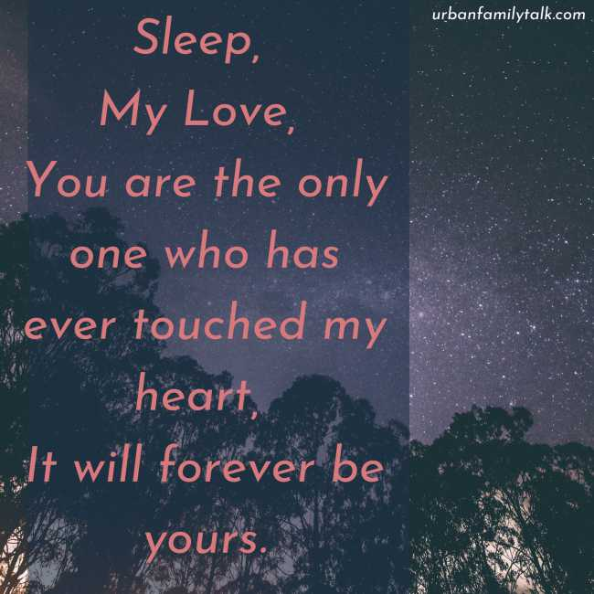 Sleep, My Love, You are the only one who has ever touched my heart, It will forever be yours.