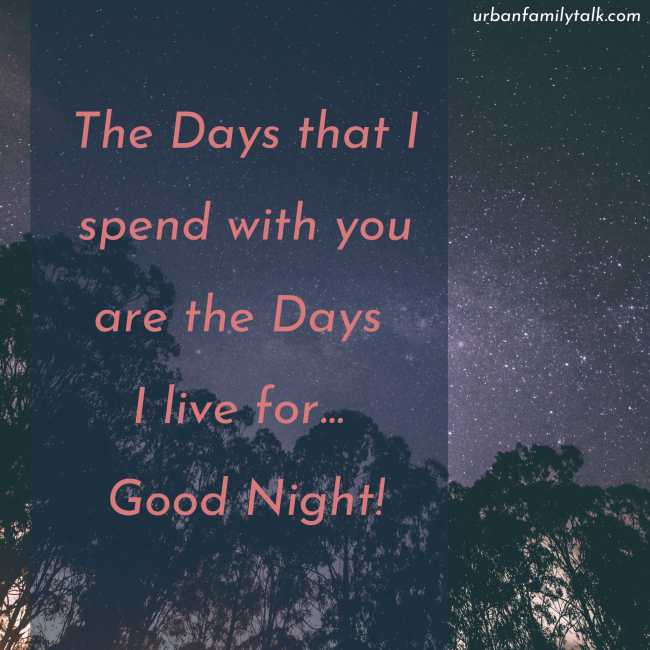 The Days that I spend with you are the Days I live for... Good Night!