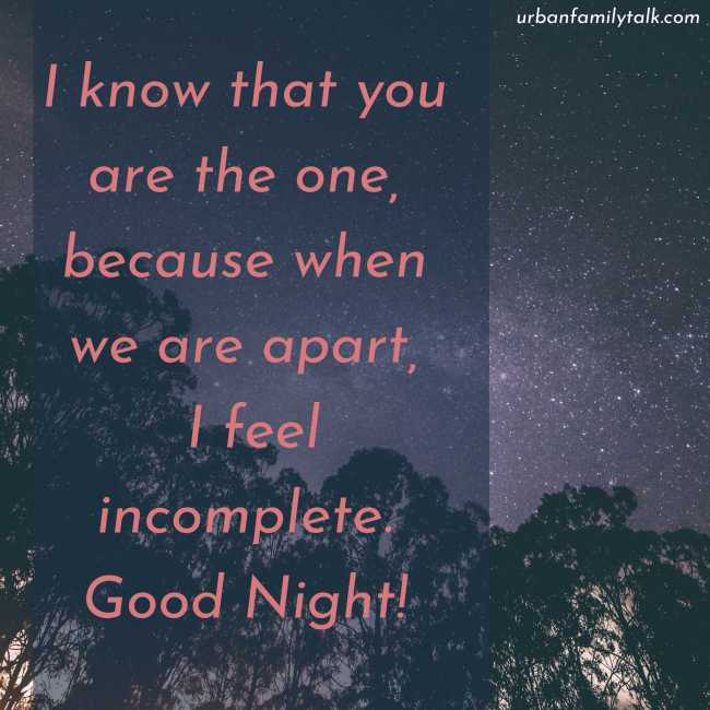 I know that you are the one, because when we are apart, I feel incomplete. Good Night!