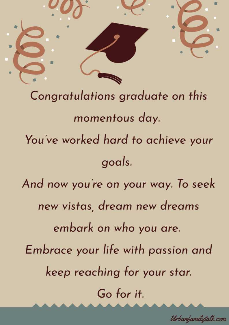 Congratulations graduate on this momentous day. You've worked hard to achieve your goals. And now you're on your way. To seek new vistas, dream new dreams embark on who you are. Embrace your life with passion and keep reaching for your star. Go for it.