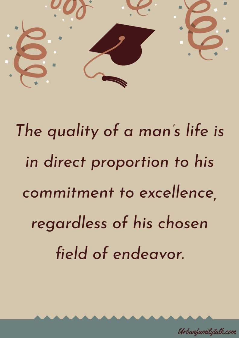 The quality of a man's life is in direct proportion to his commitment to excellence, regardless of his chosen field of endeavor.