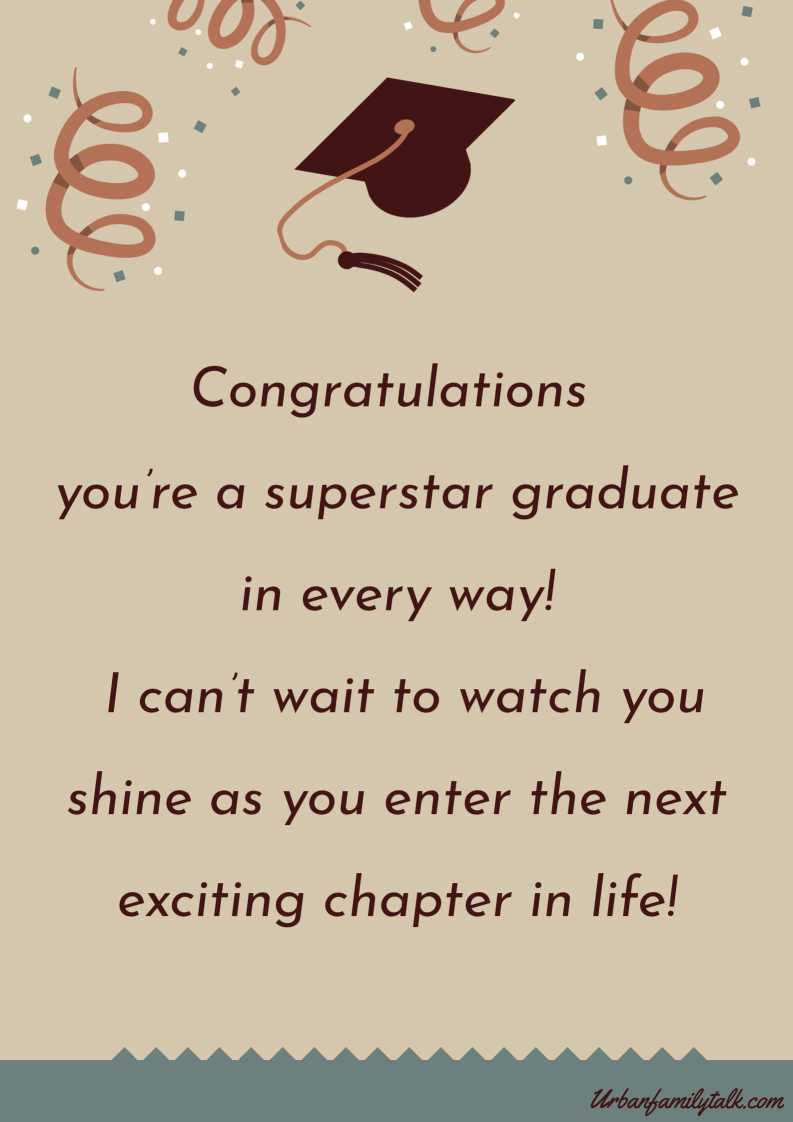 Congratulations you're a superstar graduate in every way! I can't wait to watch you shine as you enter the next exciting chapter in life!
