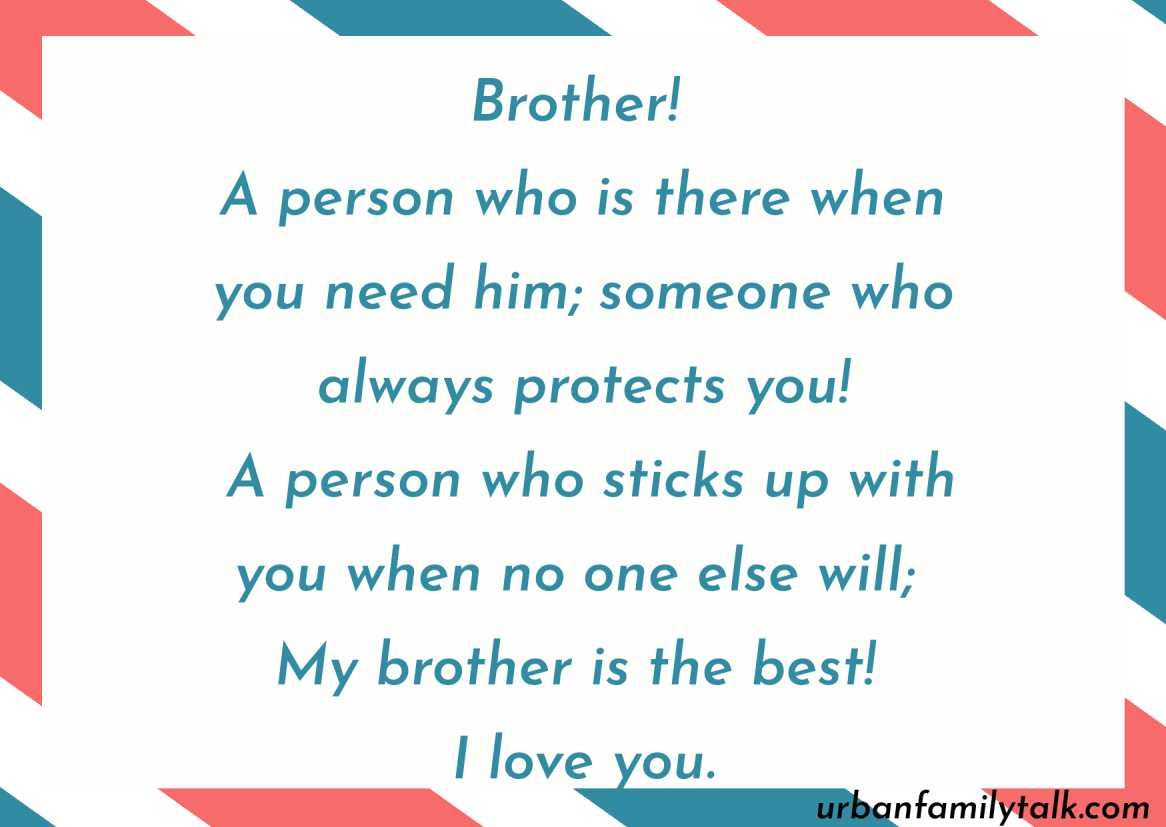 Nothing can stop me from loving my brother.