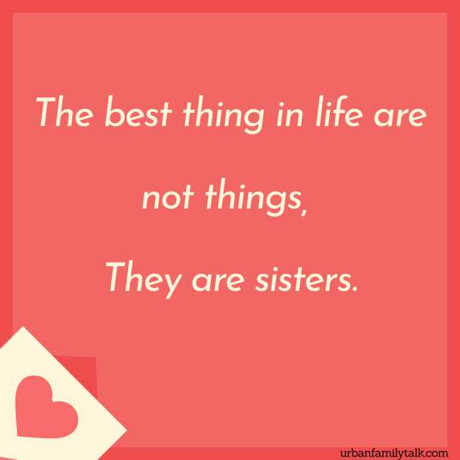 The best thing in life are not things, They are sisters.
