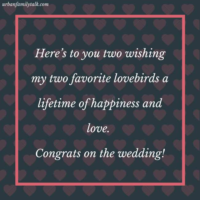 Here's to you two wishing my two favorite lovebirds a lifetime of happiness and love. Congrats on the wedding!
