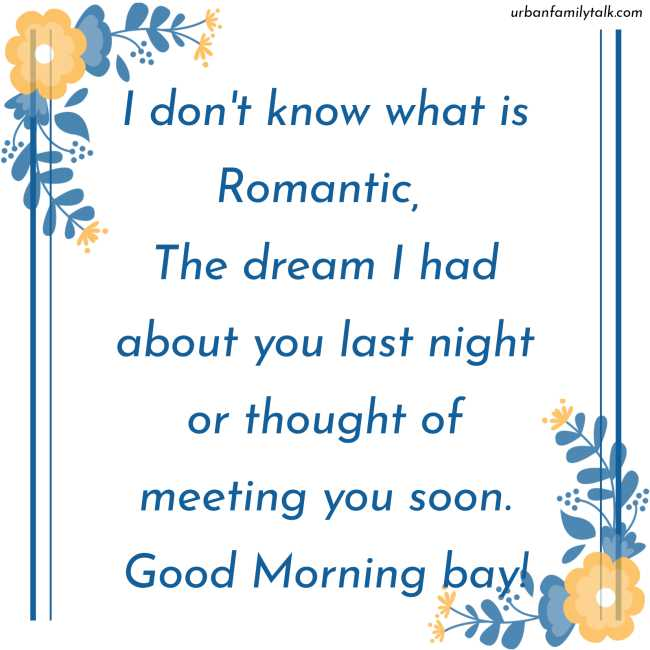 I don't know what is Romantic, The dream I had about you last night or thought of meeting you soon. Good Morning bay!