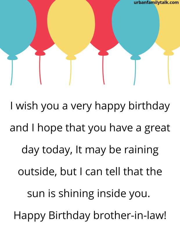 I wish you a very happy birthday and I hope that you have a great day today, It may be raining outside, but I can tell that the sun is shining inside you. Happy Birthday brother-in-law!