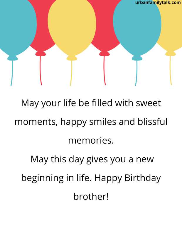 May your life be filled with sweet moments, happy smiles and blissful memories. May this day gives you a new beginning in life. Happy Birthday brother!