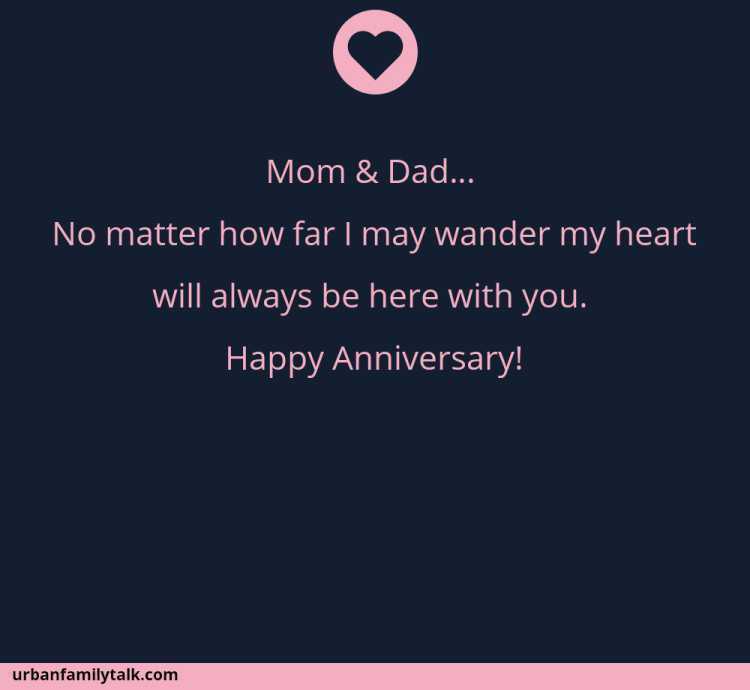 Mom & Dad… No matter how far I may wander my heart will always be here with you. Happy Anniversary!