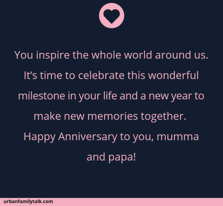 You inspire the whole world around us. It's time to celebrate this wonderful milestone in your life and a new year to make new memories together. Happy Anniversary to you, mumma and papa!