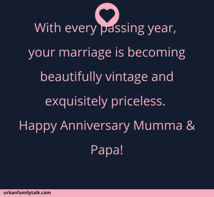 With every passing year, your marriage is becoming beautifully vintage and exquisitely priceless. Happy Anniversary Mumma & Papa!