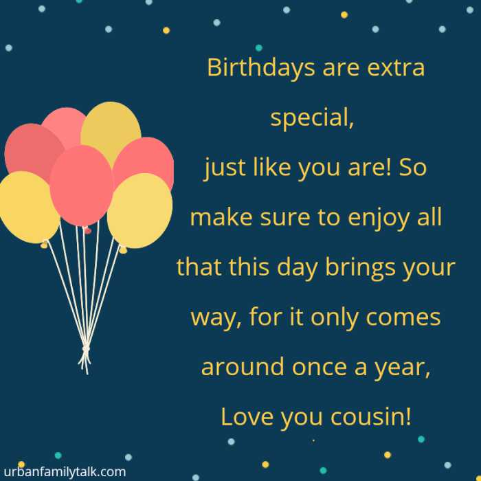 Birthdays are extra special, just like you are! So make sure to enjoy all that this day brings your way, for it only comes around once a year, Love you cousin!