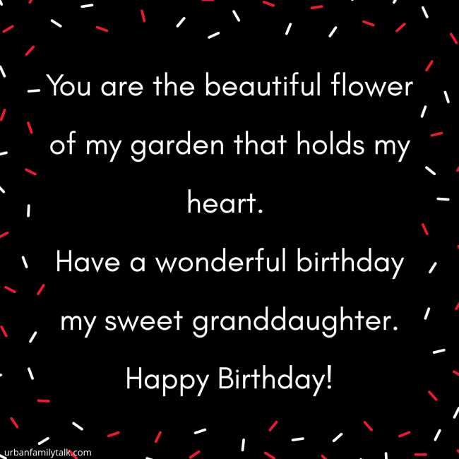 You are the beautiful flower of my garden that holds my heart. Have a wonderful birthday my sweet granddaughter. Happy Birthday!