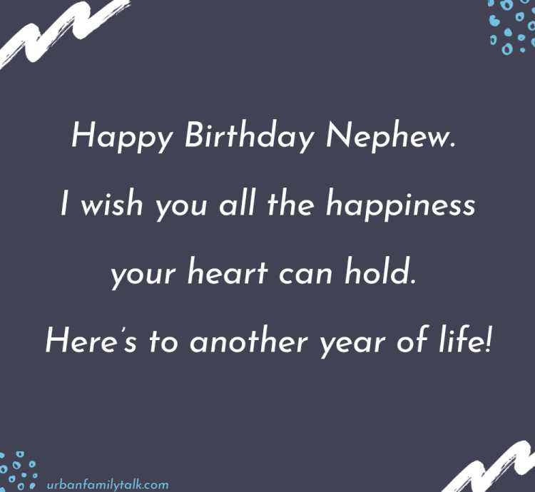 Happy Birthday Nephew. I wish you all the happiness your heart can hold. Here's to another year of life!