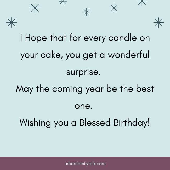 I Hope that for every candle on your cake, you get a wonderful surprise. May the coming year be the best one. Wishing you a Blessed Birthday!