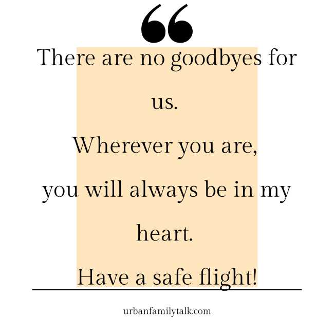 There are no goodbyes for us. Wherever you are, you will always be in my heart. Have a safe flight!