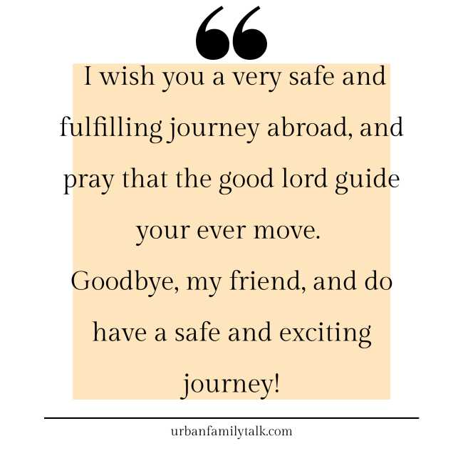 I wish you a very safe and fulfilling journey abroad, and pray that the good lord guide your ever move. Goodbye, my friend, and do have a safe and exciting journey!