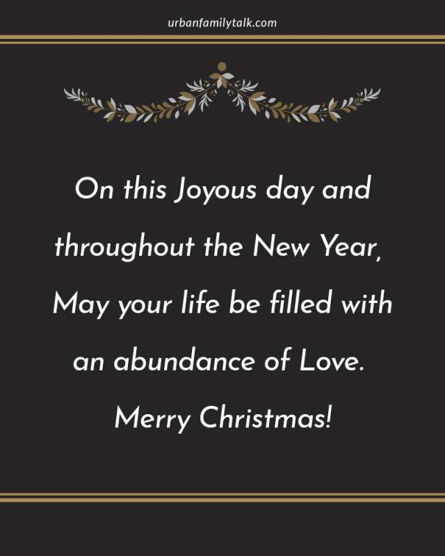 On this Joyous day and throughout the New Year, May your life be filled with an abundance of Love. Merry Christmas!