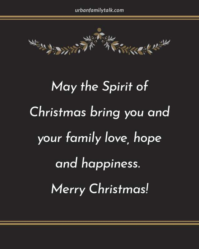 May the Spirit of Christmas bring you and your family love, hope and happiness. Merry Christmas!