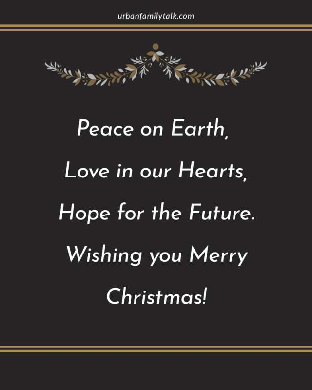 Peace on Earth, Love in our Hearts, Hope for the Future. Wishing you Merry Christmas!