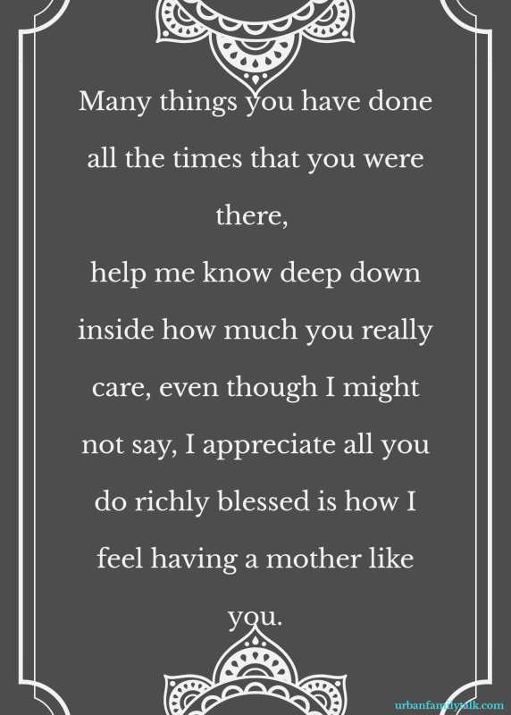 Many things you have done all the times that you were there, help me know deep down inside how much you really care, even though I might not say, I appreciate all you do richly blessed is how I feel having a mother like you.